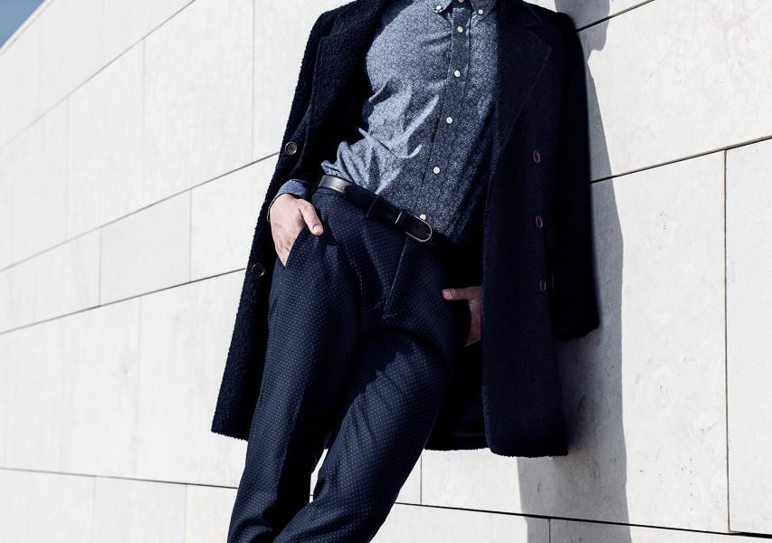 Coat - Gant.  Shirt - Giovanni Galli.  Belt - Hackett London.  Trousers - Massimo Dutti.  Sunglasses - Dior.  Socks and shoes - Gant.